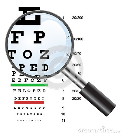 Eye test chart use by doctors and loupe. Vector