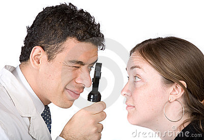 Eye test - doctor and patient