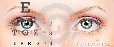Eye with test vision chart