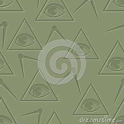 Eye in triangle background
