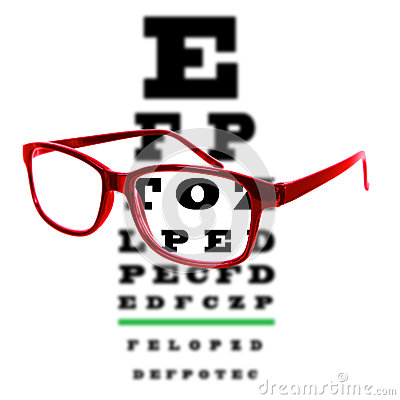 Eye vision test chart seen through eye glasses, white background