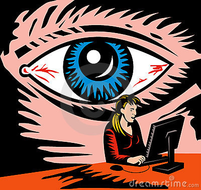 Eye watching computer user