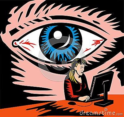 Free Eye Watching Computer User Royalty Free Stock Photos - 10322978