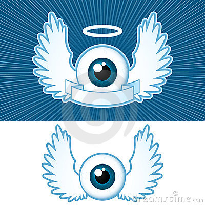 Free Eye With Angel Wings And Banner Stock Photos - 5454833