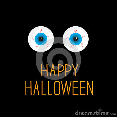 Eyeballs. Blue eyes. Happy Halloween card.