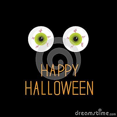 Free Eyeballs. Green Eyes. Happy Halloween Card. Stock Photography - 34102252