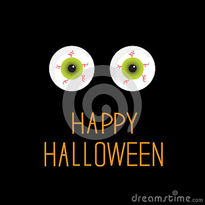 Eyeballs. Green eyes. Happy Halloween card.