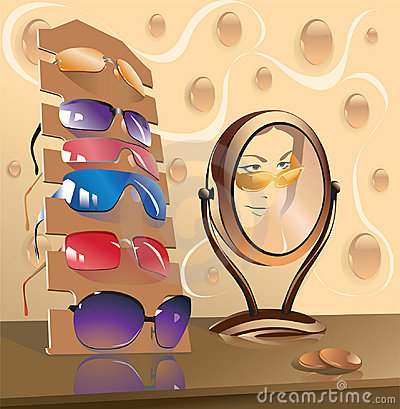 Eyeglasses and mirror