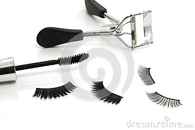 Eyelash curler, mascara and false eyelashes