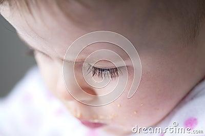 Eyelash of a messy little girl