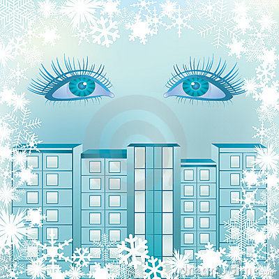 Eyes on the background  with snowflakes