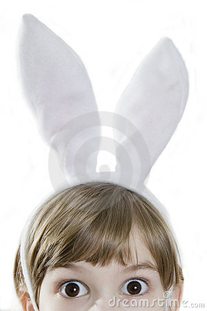 Eyes  girl in rabbit ears. Looking in wide-eyed
