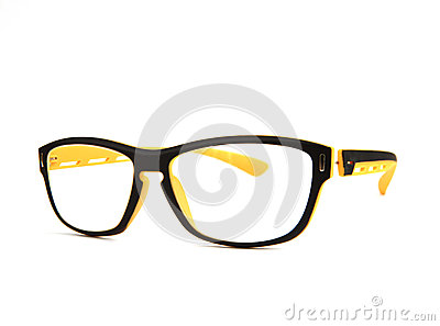 Eyes glasses on white background with studio light