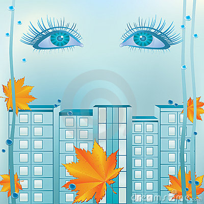 Eyes and urban landscape.