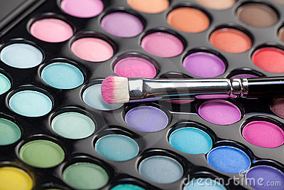 Eyeshadow Kit With Makeup Brush Royalty Free Stock Photography - Image ...