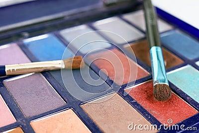 Eyeshadows and brushes