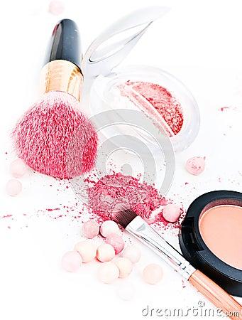 Eyeshadows and cosmetic brush