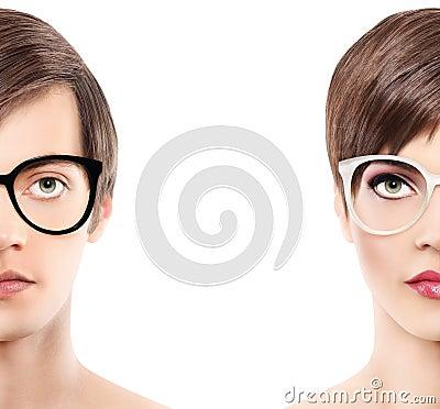 Free Eyewear Glasses Half Man Half Woman Portrait, Wear Spectacles Royalty Free Stock Photo - 64029135