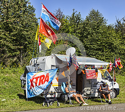 Fãs do Tour de France do Le Imagem Editorial