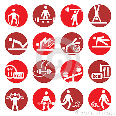 Färga kondition- och sportsymboler