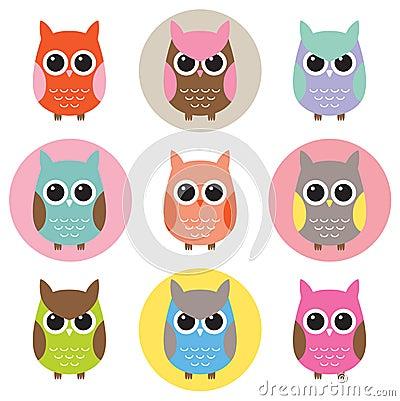 Färgrik owlset för tecken
