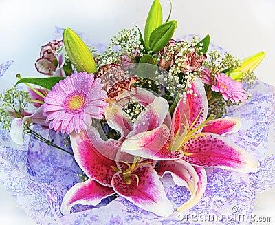 Färgrika blommor för bukett