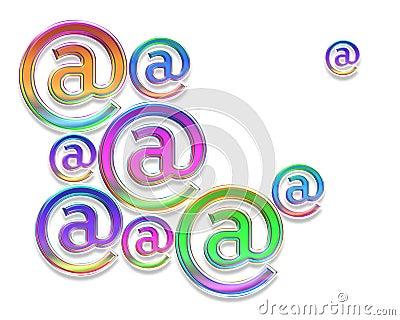 Färgrika e-posttecken