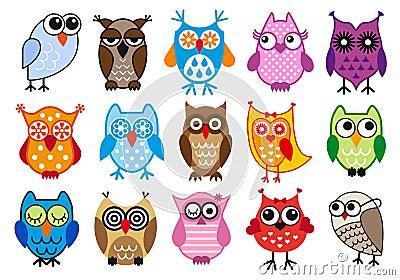 Färgrika owls