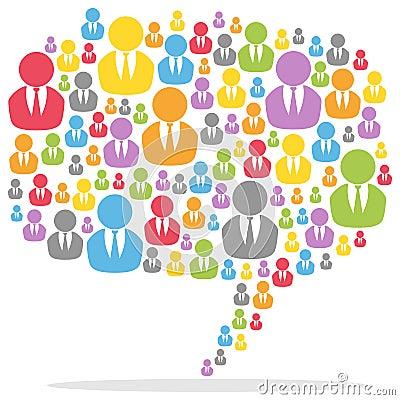 Färgrikt anförande bubblar folk