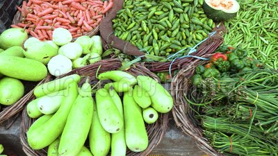 Färgrikt olikt av sunda nya organiska grönsaker på den traditionella asiatiska matmarknaden, Varanasi, Indien, video för längd i  stock video