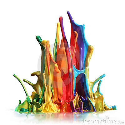 Färgrikt plaska för målarfärg