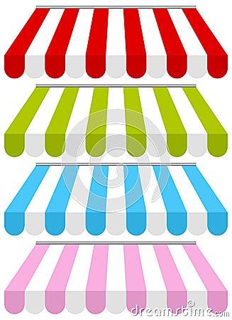 Färgrikt shoppa fastställda markiser