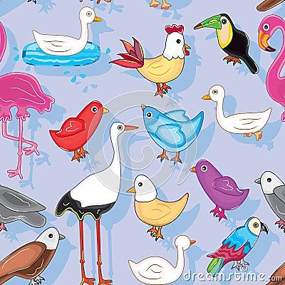 Fåglar landar Seamless mönstrar