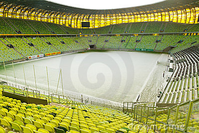 För gdansk för arena tom stadion pge Redaktionell Arkivfoto