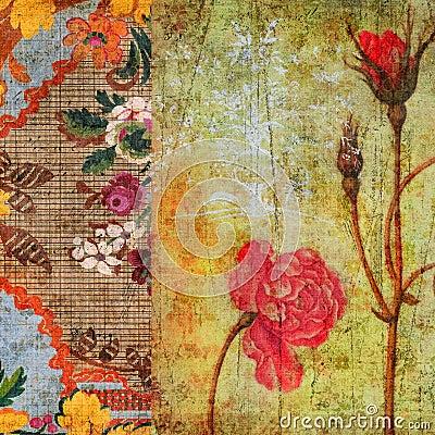 För grungescrapbook för bakgrund blom- tappning