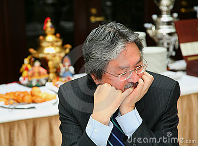 För kongsekreterare för c finansiell hong john tsang för specifikation Redaktionell Arkivbild