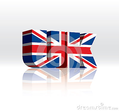 För vektorord för 3D UK (United Kingdom) flagga för text
