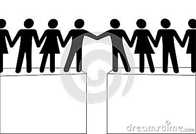 Förbind grupper sammanfogar folkräckvidd till tillsammans