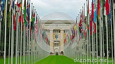 Förenta Nationerna som bygger med flaggor, Genève, Schweiz, 4K arkivfilmer