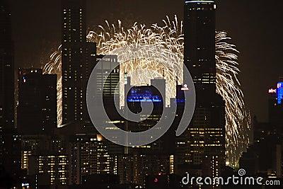 Förtitt 2009 för cityscapefyrverkerindp Redaktionell Arkivbild