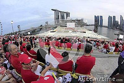 Förtitten av Singapore den nationella dagen ståtar Redaktionell Arkivbild