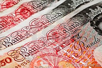 Fünfzig Pfund des Sterling - BRITISCHES Bargeld - Makro