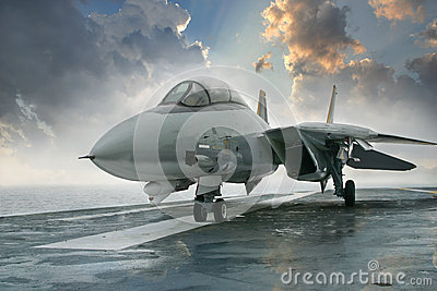 F-14 Tomcat jet fighter on carrier deck