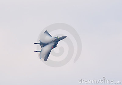 F-15 jet fighter with condensation clouds Editorial Photography