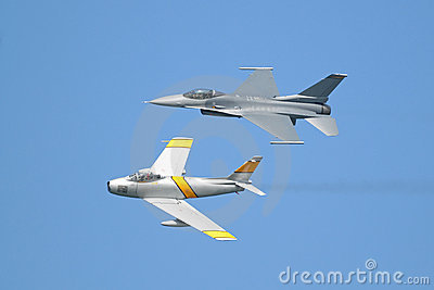 F-16 and F-86 airplanes in formation