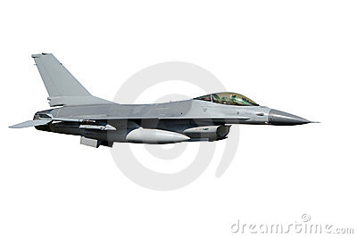F-16 fighter jet isolated