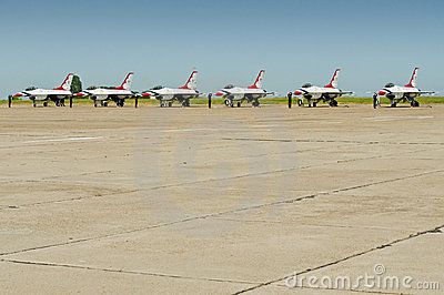 F-16 formation at ground Editorial Photography
