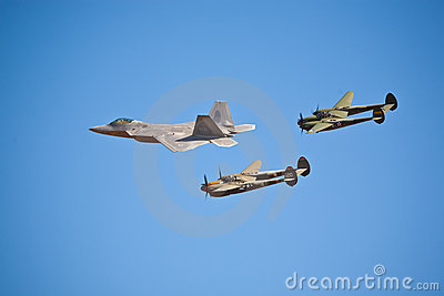 F-22 Raptor and P-38 Lightning formation Editorial Stock Image