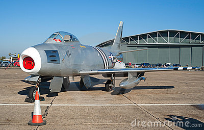 F-86 Sabre on the flight lane Editorial Stock Photo