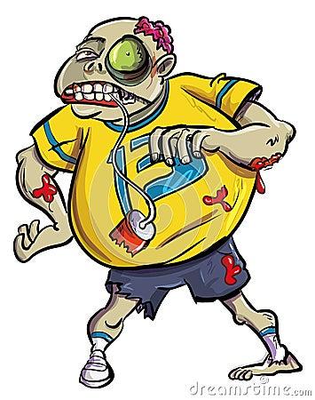 Fã ensanguentado grotesco do zombi